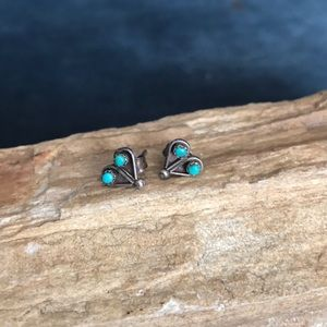Zuni Sterling And Turquoise Heart Earrings